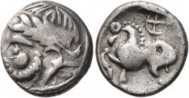 MIDDLE DANUBE. Uncertain tribe. 2nd-1st centuries BC. Drachm (Silver, 13 mm, 1.73 g, 6 h), 'Kugelwange' type. Celticized laureate head of Zeus to left...