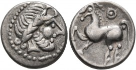 MIDDLE DANUBE. Uncertain tribe. 2nd-1st centuries BC. Drachm (Silver, 15 mm, 2.36 g, 1 h), 'Kugelwange' type. Celticized laureate head of Zeus to righ...