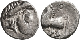 MIDDLE DANUBE. Uncertain tribe. 2nd-1st centuries BC. Drachm (Silver, 15 mm, 1.40 g, 7 h), 'Kugelwange' type. Celticized laureate head of Zeus to righ...