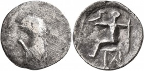 MIDDLE DANUBE. Uncertain tribe. 2nd-1st centuries BC. Drachm (Silver, 17 mm, 3.00 g). Bird-like half-length figure to left, left hand raised. Rev. Cel...