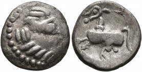 MIDDLE DANUBE. Uncertain tribe. 2nd-1st centuries BC. Drachm (Silver, 14 mm, 2.00 g, 4 h), 'Kapostal' type. Celticized laureate head of Zeus to right....