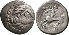 MIDDLE DANUBE. Uncertain tribe. 2nd-1st centuries BC. Drachm (Silver, 15 mm, 2.01 g, 1 h), 'Kapostal' type. Celticized laureate head of Zeus to right....