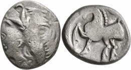MIDDLE DANUBE. Uncertain tribe. 2nd-1st centuries BC. Tetradrachm (Silver, 24 mm, 10.56 g, 1 h), 'Kugelwange' type. Celticized laureate head of Zeus t...