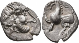 MIDDLE DANUBE. Uncertain tribe. 2nd-1st centuries BC. 'Tetradrachm' (Silver, 25 mm, 4.77 g, 2 h), 'Kugelwange' type. Celticized laureate head of Zeus ...