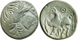 MIDDLE DANUBE. Uncertain tribe. 2nd-1st centuries BC. Tetradrachm (Bronze, 24 mm, 8.71 g, 7 h), 'Kugelwange' type. Celticized laureate head of Zeus to...