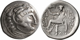 LOWER DANUBE. Uncertain tribe. Circa 2nd century BC. Drachm (Silver, 19 mm, 2.68 g, 9 h), imitating Philip III of Macedon. Celticized head of Herakles...
