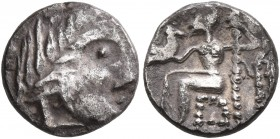 LOWER DANUBE. Uncertain tribe. Circa 2nd century BC. Obol (Silver, 10 mm, 0.94 g, 10 h), imitating Alexander III or Philip III of Macedon. Celticized ...