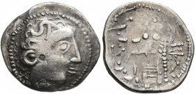 LOWER DANUBE. Uncertain tribe. Circa 2nd century BC. Drachm (Silver, 17 mm, 2.36 g, 4 h), imitating Philip III of Macedon. Celticized male head to rig...