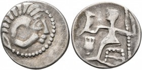 LOWER DANUBE. Uncertain tribe. Circa 2nd-1st centuries BC. Drachm (Silver, 19 mm, 2.48 g, 11 h), imitating Alexander III of Macedon. Celticized head o...