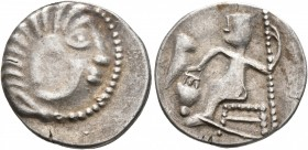 LOWER DANUBE. Uncertain tribe. Circa 2nd-1st centuries BC. Drachm (Silver, 19 mm, 3.14 g, 11 h), imitating Alexander III of Macedon. Celticized head o...