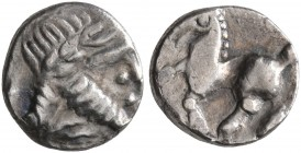 LOWER DANUBE. Uncertain tribe. Circa 2nd-1st centuries BC. 'Obol' (Silver, 8 mm, 0.32 g, 4 h). Celticized laureate head of Zeus to right. Rev. Celtici...