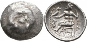 LOWER DANUBE. Uncertain tribe. 1st century BC. Drachm (Silver, 19 mm, 3.57 g, 8 h). Celticized head of Herakles to right, wearing lion skin headdress....