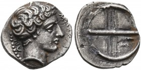 GAUL. Massalia. Circa 410-380 BC. Obol (Silver, 10 mm, 0.72 g). MAΣ[ΣAΛIΩT]-ΩN Horned head of Lakydon to right. Rev. Wheel of four spokes; M in one qu...