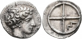 GAUL. Massalia. Circa 410-380 BC. Obol (Silver, 10 mm, 0.74 g). MAΣΣAΛIΩT-AN Horned head of Lakydon to right. Rev. Wheel of four spokes; M in one quar...