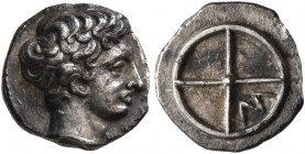 GAUL. Massalia. Circa 410-380 BC. Obol (Silver, 9 mm, 0.78 g). MAΣΣAΛIΩ Horned head of Lakydon to right. Rev. Wheel of four spokes; M in one quarter. ...