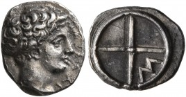 GAUL. Massalia. Circa 410-380 BC. Obol (Silver, 10 mm, 0.73 g). MAΣΣAΛI Horned head of Lakydon to right. Rev. Wheel of four spokes; M in one quarter. ...