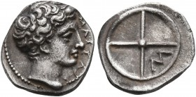 GAUL. Massalia. Circa 410-380 BC. Obol (Silver, 10 mm, 0.82 g). MAΣΣAΛI Horned head of Lakydon to right. Rev. Wheel of four spokes; M in one quarter. ...