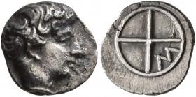 GAUL. Massalia. Circa 410-380 BC. Obol (Silver, 10 mm, 0.72 g). Horned head of Lakydon to right. Rev. Wheel of four spokes; M in one quarter. Chevillo...