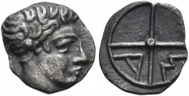 GAUL. Massalia. 380-336 BC. Obol (Silver, 10 mm, 0.51 g). Horned head of Lakydon to right. Rev. AM within wheel of four spokes. Maurel 342. A very rar...