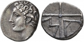 GAUL. Massalia. Circa 310-250 BC. Obol (Silver, 10 mm, 0.62 g). Bare head of Apollo to left. Rev. M-A within wheel of four spokes. Maurel 380. Nicely ...