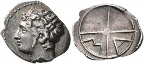 GAUL. Massalia. Circa 310-250 BC. Obol (Silver, 12 mm, 0.61 g, 5 h). Bare head of Apollo to left. Rev. M-A within wheel of four spokes. Maurel 380. Be...