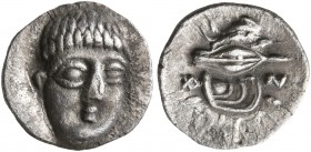CAMPANIA. Phistelia. Circa 325-275 BC. Obol (Silver, 10 mm, 0.60 g, 12 h). Young male head facing, turned slightly to right. Rev. 𐌚𐌉&#66...