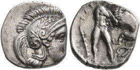 CALABRIA. Tarentum. Circa 380-325 BC. Diobol (Silver, 11 mm, 1.29 g, 6 h). Head of Athena to right, wearing laureate and crested Attic helmet and pear...