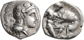 CALABRIA. Tarentum. Circa 325-280 BC. Diobol (Silver, 11 mm, 1.12 g, 6 h). Head of Athena to right, wearing crested Attic helmet decorated with three ...