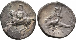 CALABRIA. Tarentum. Circa 280-272 BC. Didrachm (Silver, 22 mm, 6.34 g, 2 h). ΞΩ - AΠOΛΛΩ Warrior on horse galloping to left, holding shield decorated ...