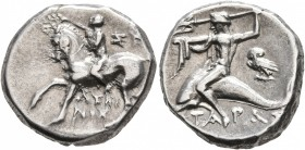 CALABRIA. Tarentum. Circa 272-240 BC. Didrachm or Nomos (Silver, 18 mm, 6.52 g, 5 h), Sy... and Lykinos, magistrates. Nude youth riding horse walking ...