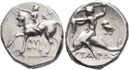CALABRIA. Tarentum. Circa 272-240 BC. Didrachm or Nomos (Silver, 19 mm, 6.52 g, 12 h), Sy... and Lykinos, magistrates. Nude youth riding horse walking...