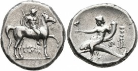 CALABRIA. Tarentum. Circa 272-240 BC. Didrachm or Nomos (Silver, 20 mm, 6.52 g, 3 h), Herakletos, magistrate. Nude rider on horse walking to right, ho...