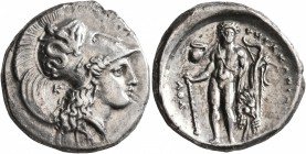 LUCANIA. Herakleia. Circa 330/25-281 BC. Didrachm or Nomos (Silver, 21 mm, 7.74 g, 9 h). [ՒHPAKΛHIΩN] Head of Athena to right, wearing Corinthian helm...