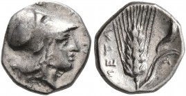 LUCANIA. Metapontion. Circa 325-275 BC. Diobol (Silver, 10 mm, 1.21 g, 4 h). Head of Athena to right, wearing Corinthian helmet. Rev. META Barley ear ...