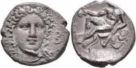 BRUTTIUM. Kroton. Circa 400-325 BC. Didrachm or Nomos (Silver, 21 mm, 7.44 g, 10 h). Head of Hera Lakinia facing slightly to right, wearing stephane o...