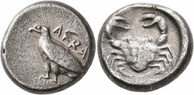 SICILY. Akragas. Circa 495-480/78 BC. Didrachm (Silver, 19 mm, 9.00 g, 2 h). AKPA Eagle standing left with closed wings. Rev. Crab within shallow circ...