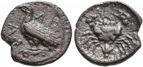 SICILY. Akragas. Circa 450-440 BC. Litra (Silver, 10 mm, 0.72 g, 12 h). AK-PA Eagle standing left on Ionic capital. Rev. Crab; below, lotus flower. HG...