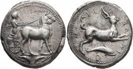 SICILY. Messana. 420-413 BC. Tetradrachm (Silver, 26 mm, 17.39 g, 7 h). MEΣΣANA The nymph Messana, wearing long chiton and holding reins in both hands...