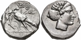 SICILY. Segesta. Circa 412/0-400 BC. Didrachm (Silver, 20 mm, 8.57 g, 12 h). ΣELEΣTA 𐤆IB The river-god Krimisos, in the form of a hunting dog, ...