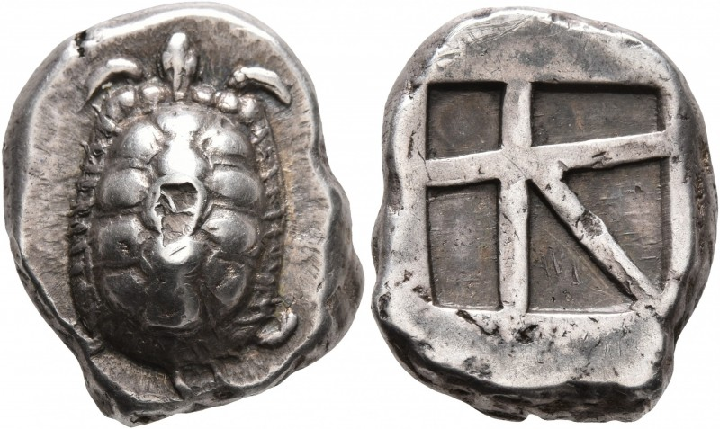 ISLANDS OFF ATTICA, Aegina. Circa 456/45-431 BC. Stater (Silver, 22 mm, 12.32 g)...