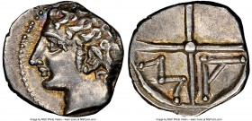 GAUL. Massalia. Ca. 2nd century BC. AR obol (9mm, 5h). NGC Choice AU. Ca. 350-150 BC. Bare head of Apollo left / MA within two spokes of a wheel. SNG ...
