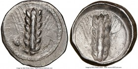 LUCANIA. Metapontum. Ca. 470-440 BC. AR stater (21mm, 11h). NGC Choice VF, brushed, edge chip, overstruck. ME-TA, barley ear with seven grains; rams h...