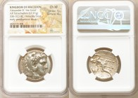 MACEDONIAN KINGDOM. Alexander III the Great (336-323 BC). AR tetradrachm (25mm, 17.01 gm, 10h). NGC Choice XF 5/5 - 4/5. Posthumous issue of Babylon, ...