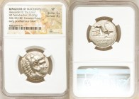 MACEDONIAN KINGDOM. Alexander III the Great (336-323 BC). AR tetradrachm (25mm, 16.90 gm, 9h). NGC VF 5/5 - 4/5. Posthumous issue of Sardes, under Ant...