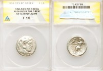 MACEDONIAN KINGDOM. Alexander III the Great (336-323 BC). AR tetradrachm (24mm, 12h). ANACS Fine 15. Lifetime issue of Salamis, 332-323 BC. Head of He...