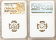 MACEDONIAN KINGDOM. Alexander III the Great (336-323 BC). AR drachm (17mm, 4.28 gm, 1h). NGC Choice AU 4/5 - 4/5. Posthumous issue of Abydus, ca. 310-...