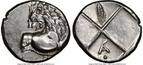 THRACE. Chersonesus. Ca. 4th century BC. AR hemidrachm (14mm). NGC Choice XF. Persic standard, ca. 480-350 BC. Forepart of lion right, head reverted /...