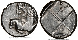 THRACE. Chersonesus. Ca. 4th century BC. AR hemidrachm (13mm). NGC XF. Persic standard, ca. 480-350 BC. Forepart of lion right, head reverted / Quadri...
