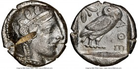 ATTICA. Athens. Ca. 455-440 BC. AR tetradrachm (24mm, 17.17 gm, 5h). NGC AU 5/5 - 2/5, test cut. Early transitional issue. Head of Athena right, weari...