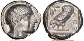 ATTICA. Athens. Ca. 455-440 BC. AR tetradrachm (24mm, 17.13 gm, 2h). NGC XF 5/5 - 3/5. Early transitional issue. Head of Athena right, wearing crested...